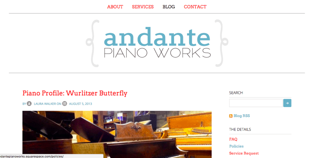 The first iteration of andantepianoworks.com, launched on September 15, 2012