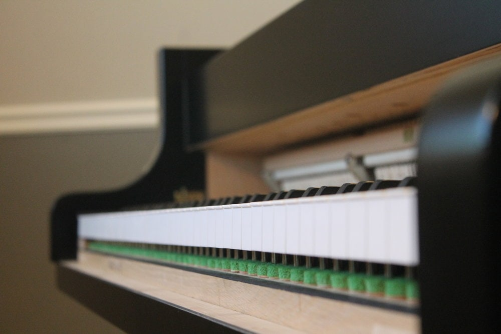 Eyeballing the white key leveling. It's important not just for how the piano feels but for aesthetic reasons, as it's a part of the playing mechanism that is visible.